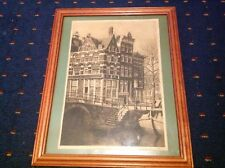 ANTIQUE AQUATINT OR LITHOGRAPH ? PRINSENGRACHT AMSTERDAM . UNKNOWN SIGNATURE.