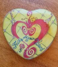 "Brighton Collectibles Heart Shaped Tin EMPTY 5.5"" x 5""x 1"" FOLLOW YOUR HEART"