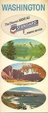 1967 CHEVRON OIL Road Map WASHINGTON Seattle Tacoma Spokane Puget Sound Olympia