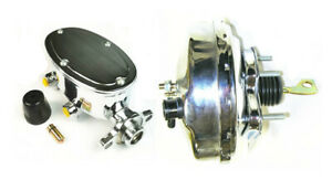 """1967-70 Ford Mustang 9""""Power Brake Booster Black w/ Master Cylinder Chrome"""