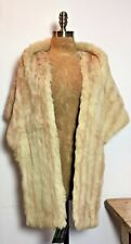 VINTAGE SHAPED SOFT BLONDE FUR STOLE with STRIPE DETAIL