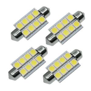 4X White 42mm 5050 8SMD Festoon Dome Map Interior LED Light Bulbs 211-2 578 569