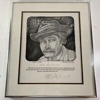 Vintage 1979 Walter S. Taylor Signed Self Portrait Sketch Print Quote Crime!