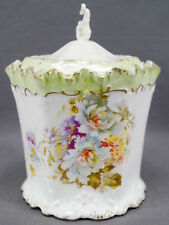 RS Prussia Mold OM 47 Hand Colored Carnations Green & Gilt Biscuit Jar C. 1900
