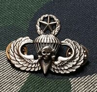Master Skull Jump Wing Airborne Badge Parachutist Military US Army Oxidized Pin