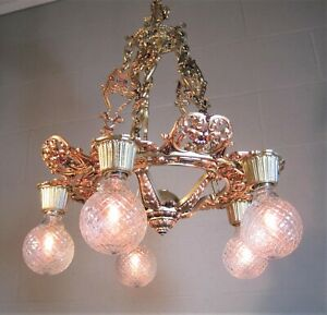 Chandelier Moe Bros Victorian Ornate 5 Chain Refinished Gold & Garnet Finishes