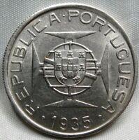 MOZAMBIQUE PORTUGAL silver 5 escudos 1935 AU / UNC #C15