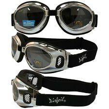 Airfoil Chrome Frame with Silver Mirror Lenses Riding Goggles
