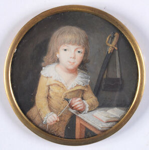 "Louis-Jean Doucet (active ca. 1800) ""Portrait of a little boy"", miniature, 1798"