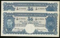 Australia, 1952 Five Pounds, £5, Coombs/Wilson, R48 (consecutive pair) - EF