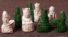 "ISLE OF LEWIS CHESS SET - ORIGINAL DESIGN WITH 'BERSERKERS' K=3"" (emerald) 756"