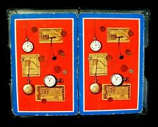 Vintage WHITMAN Playing Cards Double Deck MADE IN USA Pocket Watches Western Pub