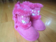 INFANT BABY GIRL PINK FAUX SUEDE FUR CRIB SHOES BOOTS NWT SIZE 3