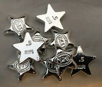 """1/2 Troy Ounce Hand Poured 999 Silver Bullion """"Star"""" by YPS Yeager's"""