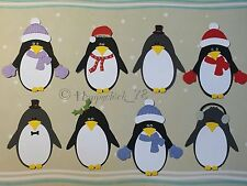 Bespoke Handmade 6x CHRISTMAS / WINTER PENGUIN WITH ACCESSORIES Card Toppers