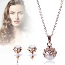 Women Gold Plated Pearl Flower Crystal Necklace Earrings bridal Jewelry Set TL