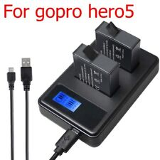 Genuine Smart LCD Dual USB Battery fast Charger for Gopro Hero 5+Charging Cable