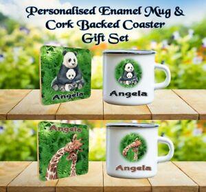 PERSONALISED WILD ANIMAL MUM AND BABY ENAMEL MUG AND COASTER SET PANDA LION