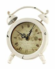 White Round Table Clock Antique Reproduction Metal