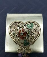 Vintage Gold Tone Compact Mirror 3-D Heart Enamel Flowers and Dangle Charms  2""