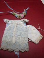 """BLUE SILK DRESS VINTAGE LACE TO FIT CATHY HANSEN 5""""  ALL BISQUE DOLL"""