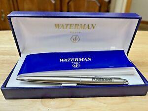 Waterman Hemisphere Stainless Steel Chrome Trim Ballpoint Pen w Corporate Logo