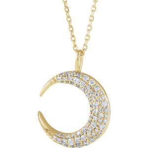 14k Yellow Gold Diamond Crescent Moon Necklace