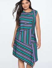 Eloquii Dress Sz 18 Opposing Stripes Sleeveless Draped Black Purple Green Ruffle