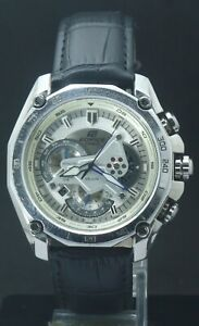 Casio Edifice EF-550 Men Tachymeter Chronograph Full Working Watch Leather Band