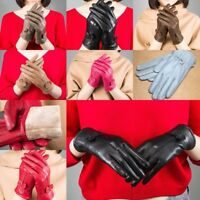 Lady Women's Winter Warm Genuine Lambskin Leather Driving Soft Lining Gloves NEW