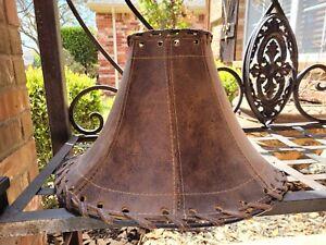 Handmade Leather Lamp Shade   Western   Rustic   Tuscan   Cabin Decor   NEW