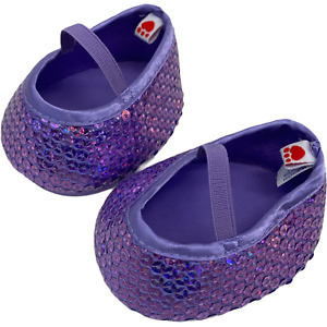 Build A Bear BABW Lilac Dress Shoes Flats Glitter Sequins w Mary Jane Straps