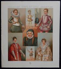 "4) Gravure couleurs ancienne (FIRMIN-DIDOT) ""EUROPE XVIè SIÈCLE"" (Vêtements/Mode"