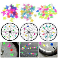 36Pcs Glow In The Dark Bicycle Bike Wheel Plastic Spoke Bead Decor DIY Clamps