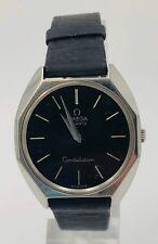 Vintage OMEGA Quartz Constellation Black Leather Geometric Swiss Made Watch