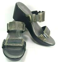 NAOT Womens Wedge Sandals Size 7 - 7.5 US 38 EU Gray Leather Made in Israel