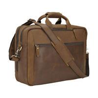 """Men Leather Backpack Briefcase 17"""" Laptop Bag Travel Bag School Bag Satchel TOTE"""