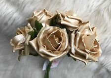6 Gold Poly Foam Top Quality Roses 5/6cm Head Wedding Flowers Table Decorations