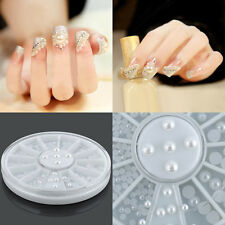 Charm White 3D Faux Pearl Beads Flatback Nail Art Tips Decoration Manicure Wheel