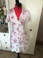 NEW LOOK Ladies Beige Ditsy Floral V Neck Short Sleeve Tea Dress Size 12 NEW