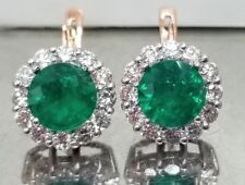 14k white & rose gold earrings natural emerald 7.04CT round shape
