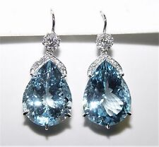 54.80CT Blue Topaz 0.70CT Diamond Chandelier Earrings 40MM 18K gold $12,300