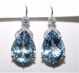 54.80CT Blue Topaz 0.70CT Diamond Chandelier Earrings 40MM 18K gold $12,300