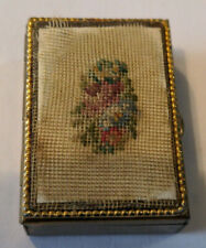Vintage Small Brass Pill Box Trinket BoxWith Filigree Embroidery