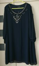 Next Navy Blue Embellished Dress Size 26. Lined. 3/4 Sleeves.  BNWT