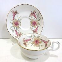 Royal Grafton Bone China Teacup & Saucer England Pink Lilly's, Used no Box