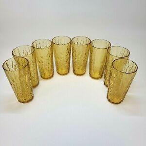 Vintage Amber Glass 16 oz Textured Tumblers Set of 8