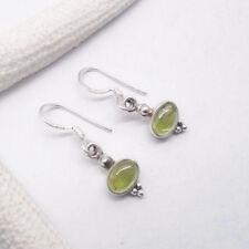 Peridot grün oval Nostalgie Design Ohrringe Hänger Ohrhänger 925 Sterling Silber