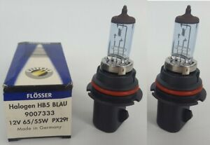 Two Flosser 9007333 HB5 Lamp 9007 Blue Halogen Head Light Bulb - Made in Germany