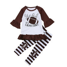 US Toddler Kids Baby Girl Dress Rugby Tops+Stripe Pants 2pcs Clothes Set Outfits